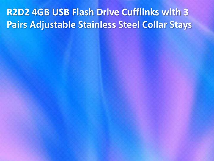 R2D2 4GB USB Flash Drive Cufflinks with 3 Pairs Adjustable Stainless Steel Collar Stays