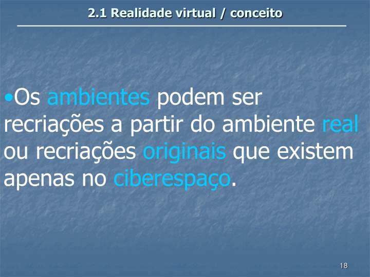 2.1 Realidade virtual / conceito