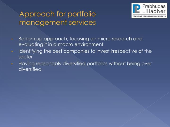 Approach for portfolio