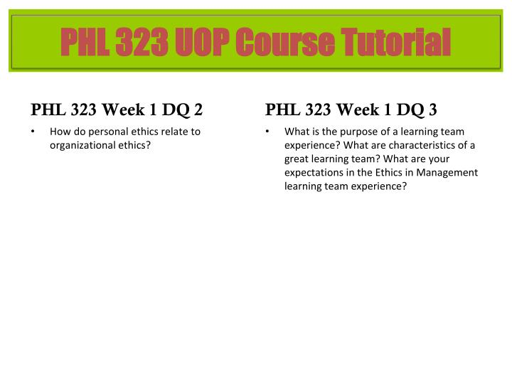 PHL 323 Week 1 DQ 2