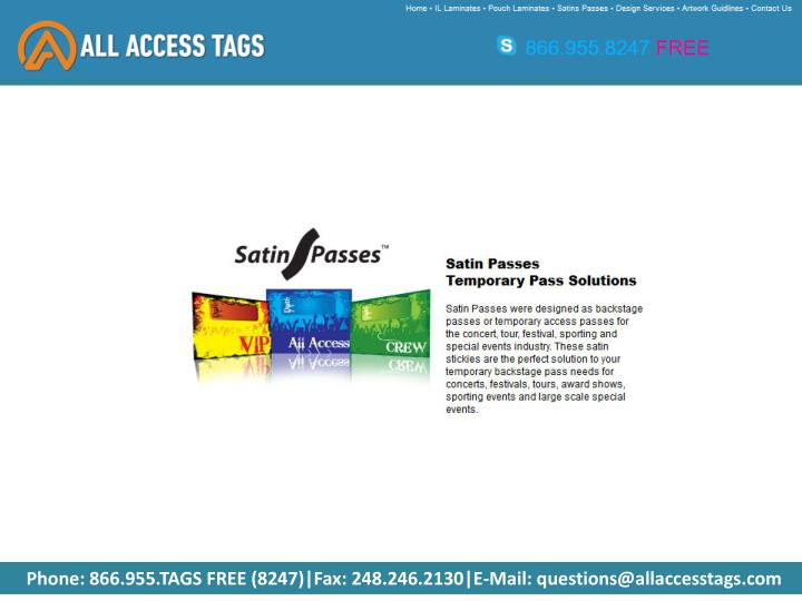 Phone: 866.955.TAGS FREE (8247)|Fax: 248.246.2130|E-Mail: questions@allaccesstags.com