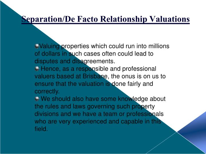 Separation/De Facto Relationship Valuations
