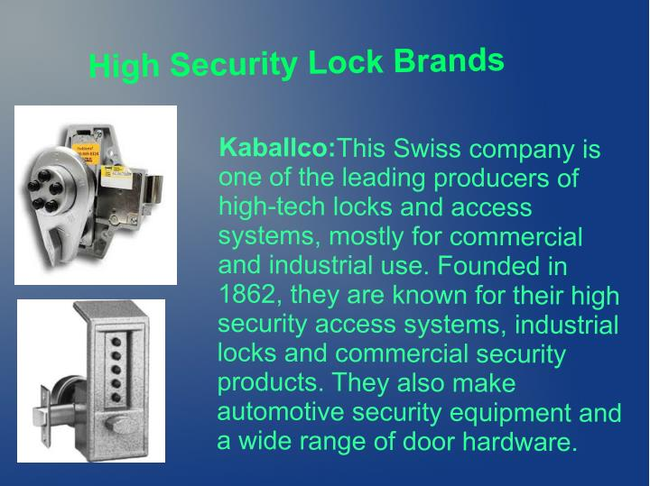 High Security Lock Brands