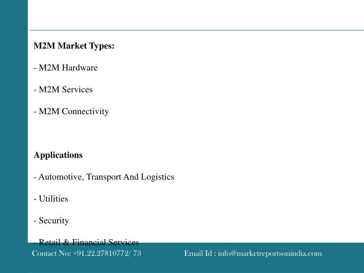 M2M Market Types: