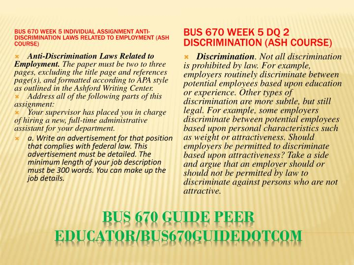 BUS 670 Week 5 Individual Assignment Anti-Discrimination Laws Related to Employment (Ash Course)