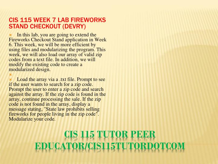 CIS 115 Week 7 Lab Fireworks Stand Checkout (