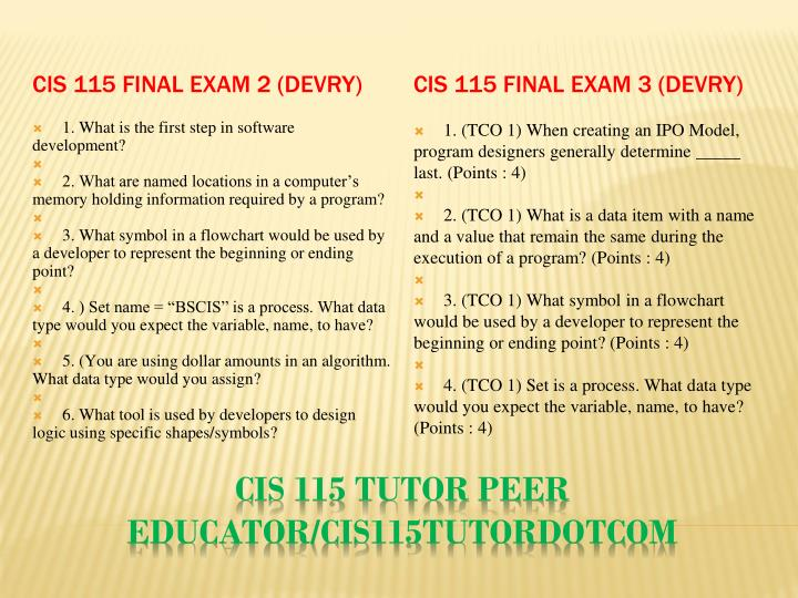 CIS 115 Final Exam 2 (Devry)