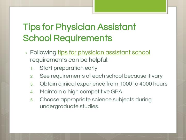 Tips for Physician Assistant School Requirements
