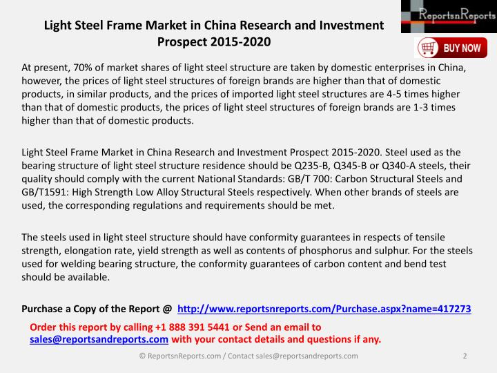 Light steel frame market in china research and investment prospect 2015 20201