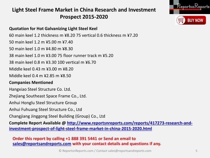 Light Steel Frame Market in China Research and Investment Prospect 2015-2020