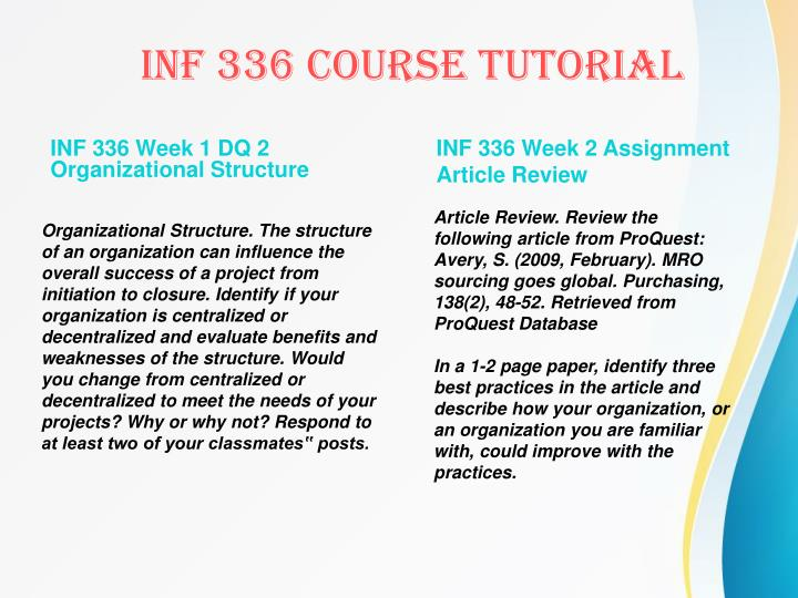 INF 336 Week 1 DQ 2 Organizational Structure