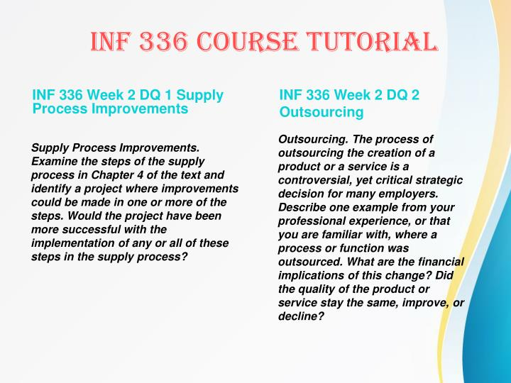 INF 336 Week 2 DQ 1 Supply Process Improvements