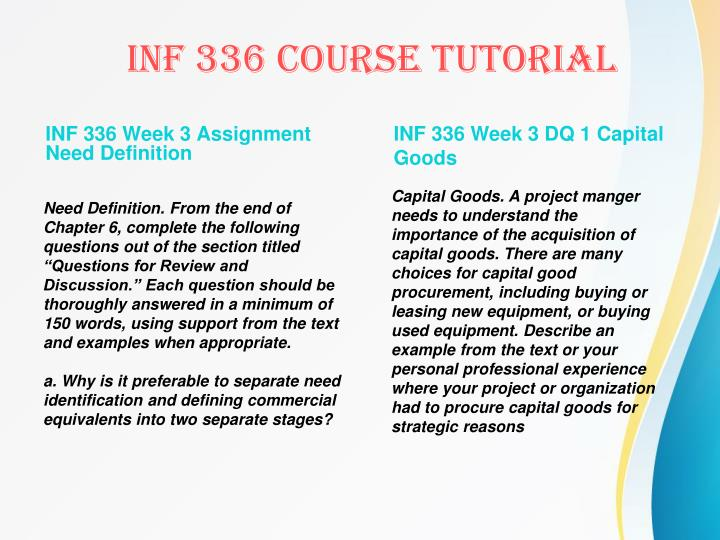 INF 336 Week 3 Assignment Need Definition