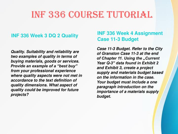INF 336 Week 3 DQ 2 Quality