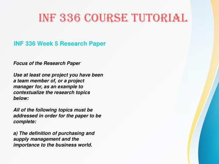 INF 336 Week 5 Research Paper