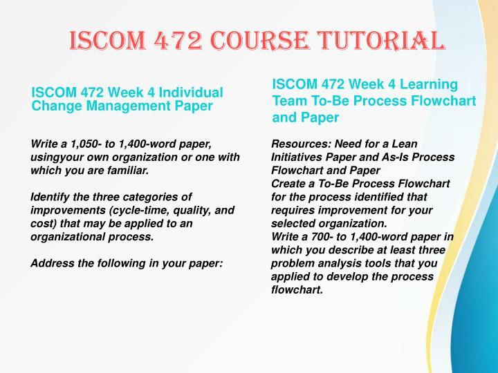 ISCOM 472 Week 4 Individual Change Management Paper