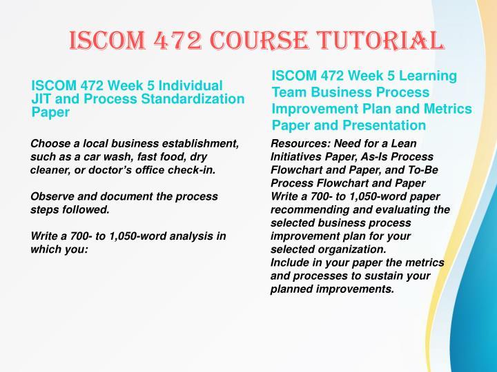 ISCOM 472 Week 5 Individual JIT and Process Standardization Paper