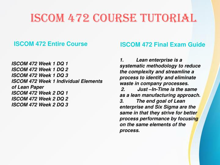 ISCOM 472 Entire Course