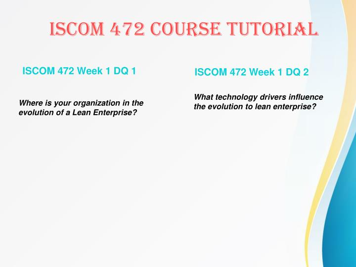 ISCOM 472 Week 1 DQ 1