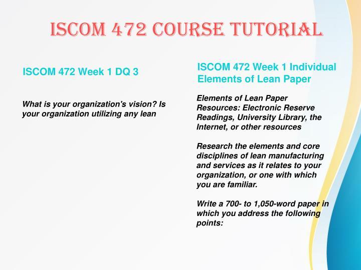 ISCOM 472 Week 1 DQ 3