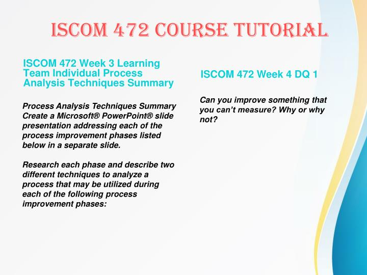 ISCOM 472 Week 3 Learning Team Individual Process Analysis Techniques Summary