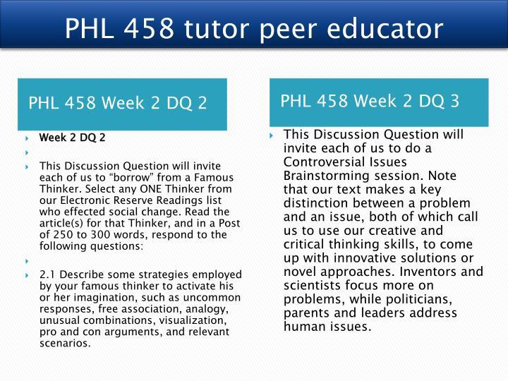 PHL 458 tutor peer