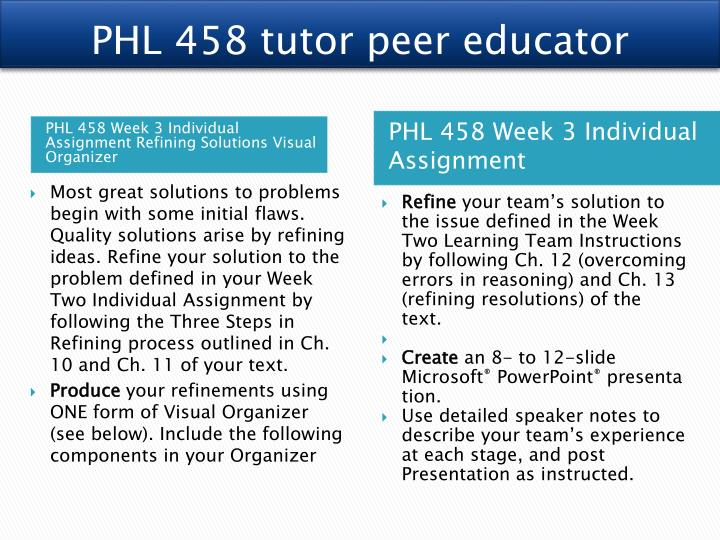 PHL 458 tutor peer