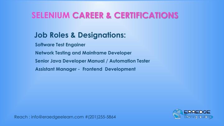 Job Roles & Designations: