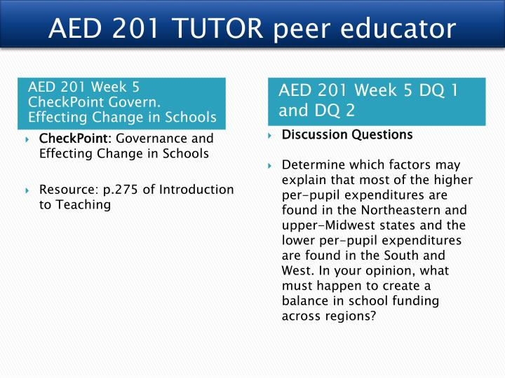 AED 201 TUTOR peer educator