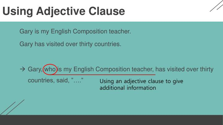 Using Adjective Clause