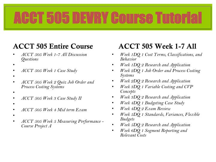 ACCT 505 Entire Course