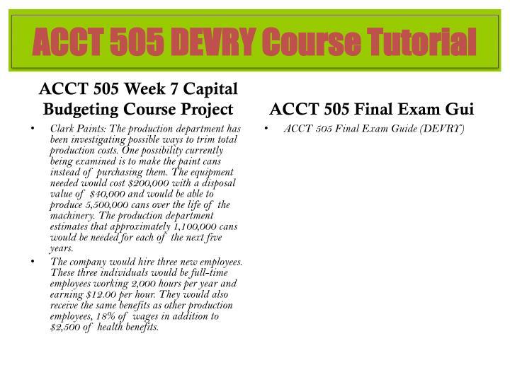 ACCT 505 DEVRY Course Tutorial