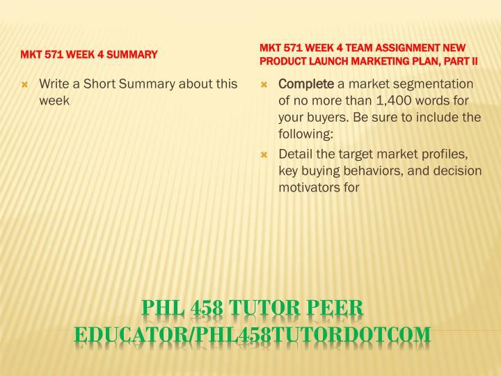 MKT 571 Week 4 Summary