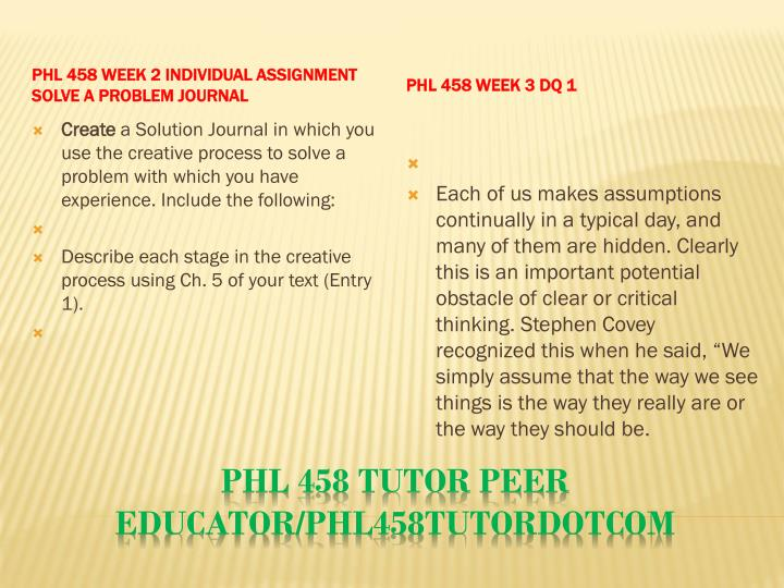 PHL 458 Week 2 Individual Assignment Solve a Problem Journal