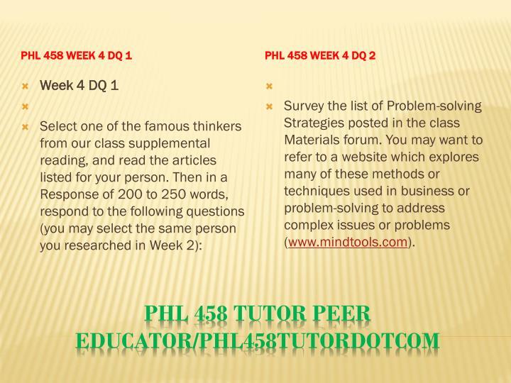 PHL 458 Week 4 DQ 1