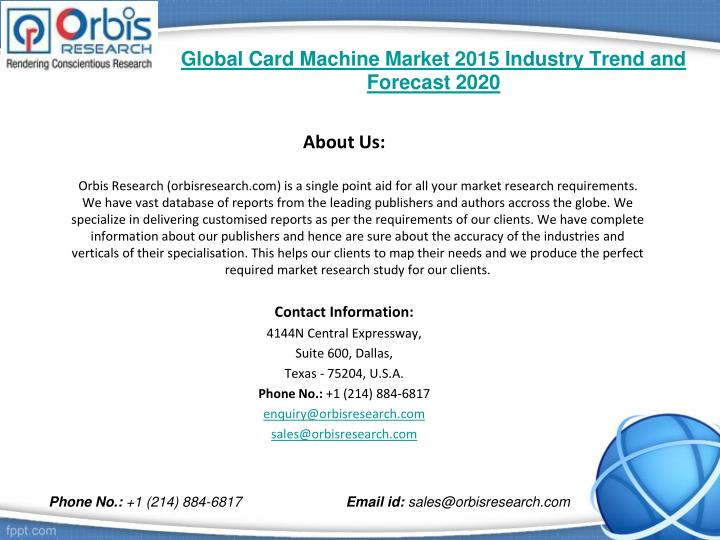 Global card machine market 2015 industry trend and forecast 20202