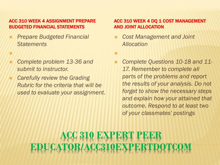 ACC 310 Week 4 Assignment Prepare Budgeted Financial Statements