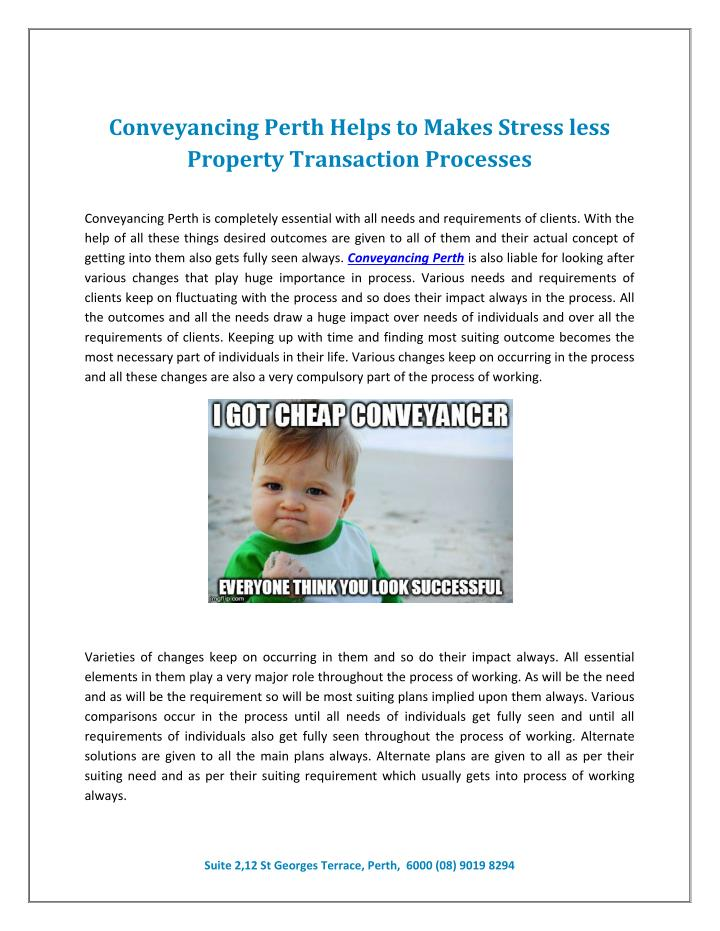 Conveyancing Perth Helps to Makes Stress less