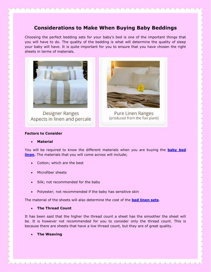 Considerations to Make When Buying Baby Beddings