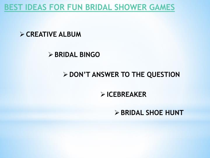 BEST IDEAS FOR FUN BRIDAL SHOWER GAMES