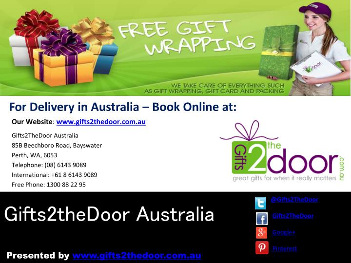 For Delivery in Australia – Book Online at: