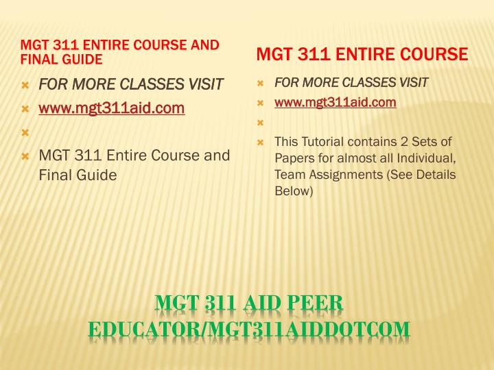 MGT 311 Entire Course and Final Guide