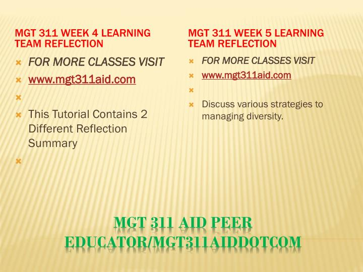 MGT 311 Week 4 Learning Team Reflection