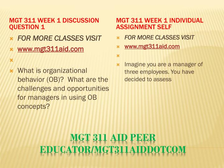 MGT 311 Week 1 Discussion Question 1
