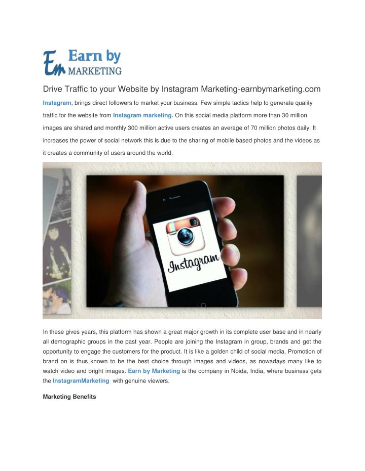Drive Traffic to your Website by Instagram Marketing-earnbymarketing.com