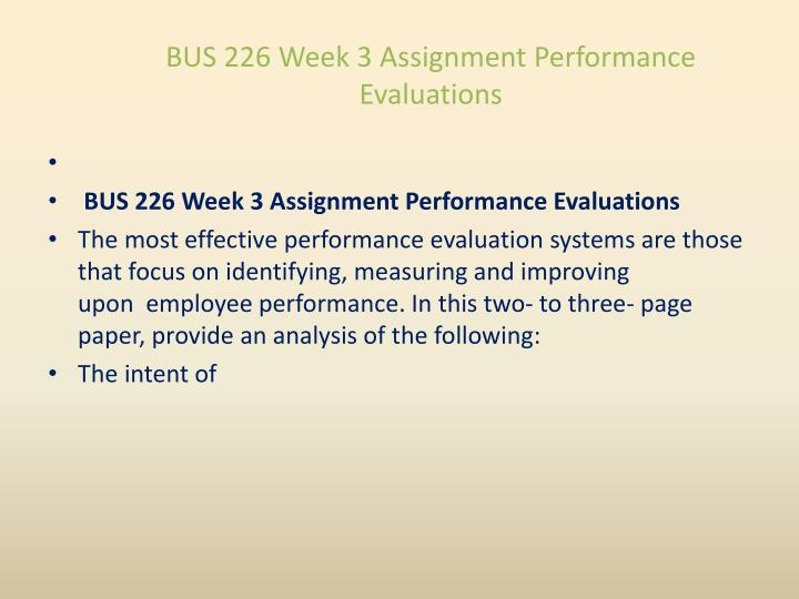 BUS 226 Week 3 Assignment Performance Evaluations