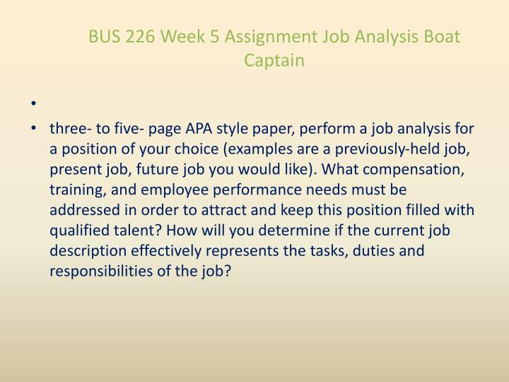 BUS 226 Week 5 Assignment Job Analysis Boat Captain