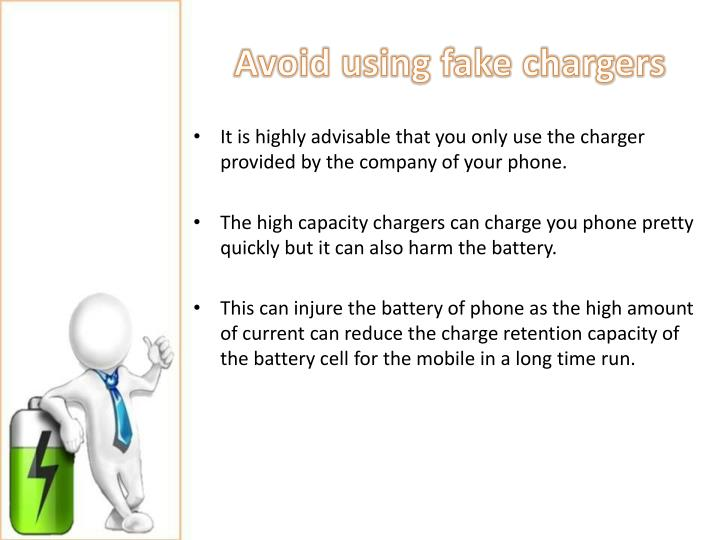 Avoid using fake chargers