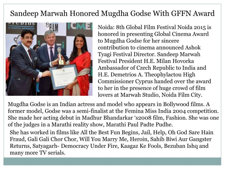 Sandeep Marwah Honored Mugdha Godse With GFFN Award