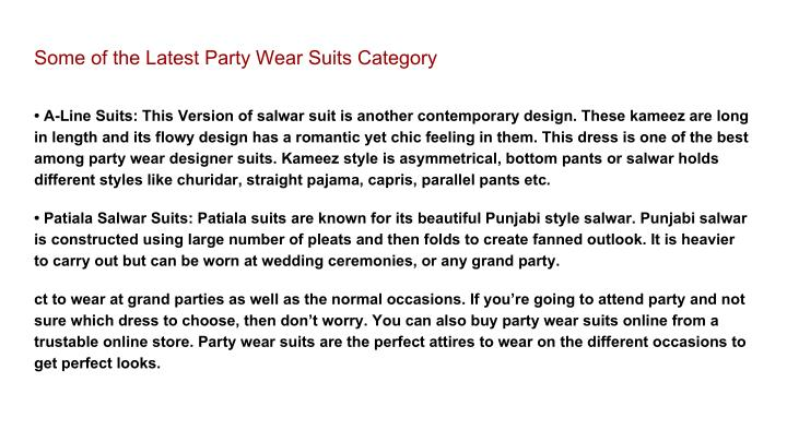 Some of the Latest Party Wear Suits Category